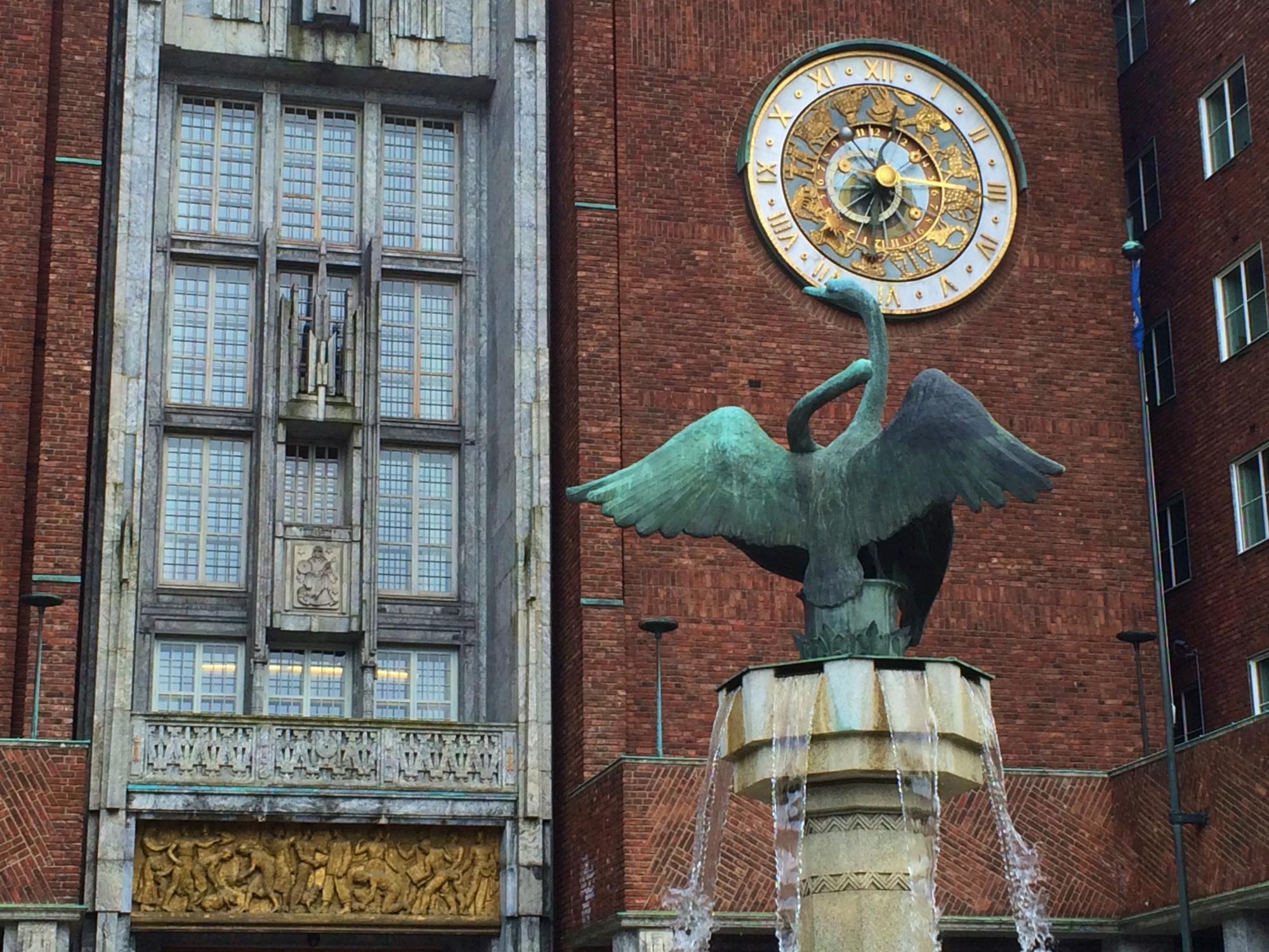 Bronze Swan Oslo City Hall