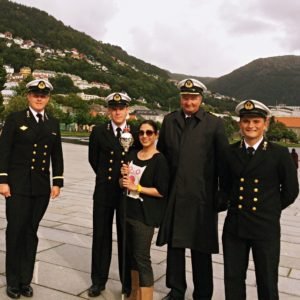 With Navy officers in Bergen